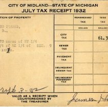 Image of Leonard Stark's July 1932  Property Tax Receipt
