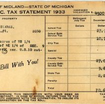Image of Leonard Stark's Dec 19343 Property Tax Statement