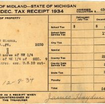 Image of Leonard Stark's Dec 1934  Property Tax Receipt