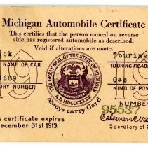 Image of Michigan Automobile Certificate Postcard - Back