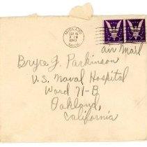 Image of Bryce J. Parkinson Correspondence - envelope