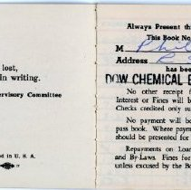 Image of Dow Chemical Employees' Credit Union Bank Book - Inside Front Cover