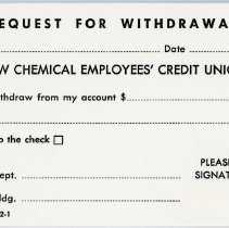 Image of Dow Chemical Employees' Credit Union Withdrawal Slip