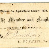 Image of Midland County Agricultural Society Membership Card -