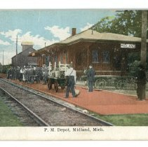 Image of Transportation - Postcard Pere Marquette Depot - front