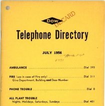 Image of Dow Chemical Company Telephone Directory - Front Cover