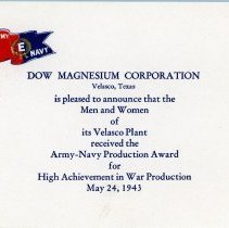 Image of Army-Navy Production Award Announcement Card