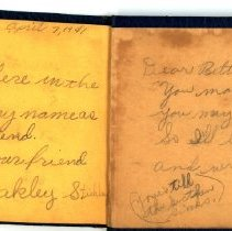 Image of Autograph Book of Betty Baker - Inside Back Cover