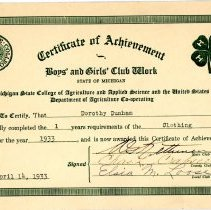 Image of Certificate of Achievement Boys and Girls Club -
