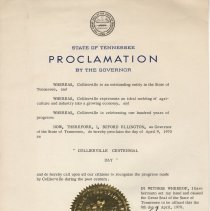 Image of Collierville Centennial Day Proclamation