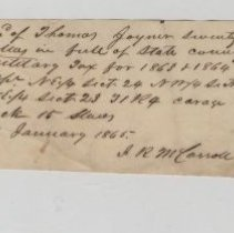 Image of State County Military Tax Receipt dated Jan. 18, 1865