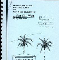 Image of Notebook - This report provides supplementary information in narrative and graphic form to explain and set forth the general development criteria for Parcels 3, 4 and 5 of the Sun City West Expansion.   The report  was developed to be used in conjunction with the rezoning application submitted by Del Webb Corporation.