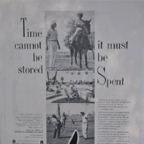 """Image of Poster - Advertisement.   """"Time cannot be stored.. it must be spent""""  One of a series of ads appearing in various publications in the early 1960's touting the Sun City lifestyle.  Great examples of early 1960's customs."""