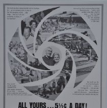 """Image of Poster - Advertisement.   """"ALL YOURS... 5 1/2 cents a DAY""""  One of a series of ads appearing in various publications in the early 1960's touting the Sun City lifestyle.  Great examples of early 1960's customs."""