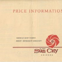 Image of Pamphlet - Price sheet for Sun City homes published in early 1967.