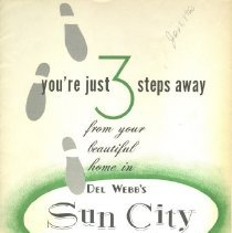 """Image of Booklet - Sun City model home brochure titled """"You're just 3 steps away. """"  Produced by Del E. Webb Development Company"""