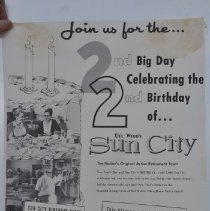 "Image of Poster - One of the early Del E. Webb Development Company advertisements called: ""Join us for the...2nd Big Day Celebrating the 2nd Birthday of Del Webb's Sun City."""