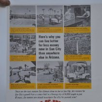 """Image of Poster - Del E. Webb Development Company advertisement titled """"Here's why you can live better for less money now in Sun City, than anywhere else in Arizona"""" from the early 1960's."""