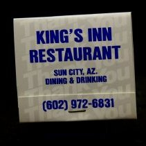 Image of Sun City General - King's Inn Restaurant book of matches.   Photo by Bob McColley.