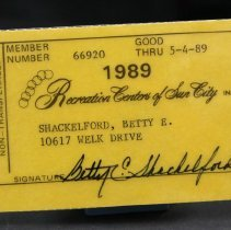Image of Sun City General - 1989 Recreation Center membership card.  Photo by Bob McColley.