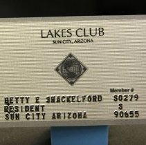 Image of Sun City General - Lakes Club membership card.  Photo by Bob McColley.