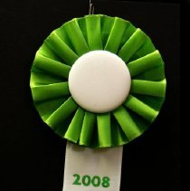 Image of SC&SCW General - Sun City Poms 2008 entry green and white ribbon.   Photo by Bob McColley.