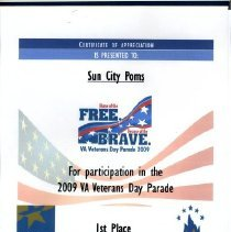 Image of Sun City General - Certificate of Appreciation to the Sun City Poms for the 2009 VA Veterans Day Parade, 1st Place Marching Unit , Small Group.