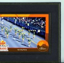 Image of Sun City General - Fiesta Bowl Parade Sun City Poms framed picture.  No date for parade.
