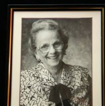 Image of Sun City General - Photo of Jane Freeman the founder and former curator of the Sun Cities Area Historical Society  Museum and co-author of Jubilee The 25th Anniversary of Sun City, Arizona.  For further information on Jane, see archive section for a oral history, number SCOH 262-Freeman, Jane.  Photo by Bob McColley.  