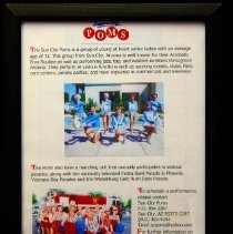 Image of Sun City General - Poms advertisement with pictures in frame.  Photo by Bob McColley.