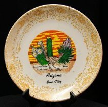 Image of Sun City General - Decorative saguaro cactus plate saying Sun City, Arizona.  Photo by Bob McColley.