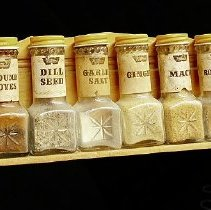 Image of 1960's Household - Spice rack.  Photo by Bob MCColley.    Part of re-creation of 1960 kitchen.
