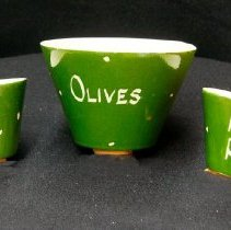 Image of 1960's Household - Olive bowl and pit pots. Deed of gift by Jo Ruck on 2/23/07.  Photo by Bob McColley.  