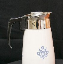 Image of 1960's Household - Nine cup corningware cornflower blue coffee pot.  Photo by Bob McColley.   Part of re-creation of 1960 kitchen.
