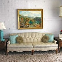 Image of 1960's Household - Off white stitched pattern couch.   Photo by Bob McColley.  