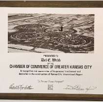 Image of Del Webb - Plaque from Chamber of Commerce of Greater Kansas City saluting Webb's role in the construction of the Kansas City International Airport.   Deed of gift from the R.H. Johnson Foundation Collection on 9/19/09.  Photo by Bob McColley.