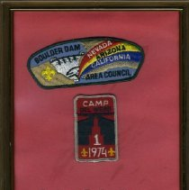 Image of Del Webb - Boy Scouts Del Webb Camp 1974 patch with Del E. Webb Company logo and Boy Scouts logo. Second patch has Boy Scouts emblem with Boulder Dam, Nevada, California, Arizona and