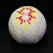 Image of Sun City General - Autographed 1978 Sun City Saints softball. It is an official league softball with pure kapok core.  Deed of gift from Patrick Broadly on 12/8/10.  Photo by Bob McColley.