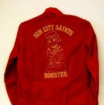 "Image of Sun City General - Red jacket saying ""Sun City Saints Booster"" in yellow lettering.   Deed of gift by Ed Allen on 12/6/10.  Photo by Bob McColley.  