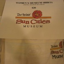 Image of Sun City and Sun City West General - Womens Museum T-shirts sizes in small, medium and large sizes.  T-shirts can be bought from the museum for $20.00.