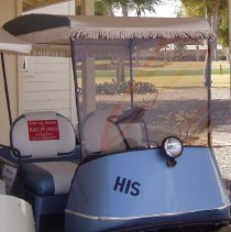 Image of Sun City General - Steve Pohle of Pohle NV Center donated a blue fully restored 1960's golf cart, just prior to the unveiling of the Del Webb's Sun Cities Museum on November 2, 2010.  The cart is in running condition and is one of two which sit in the museum's carport.  The carts, along with all the exhibits in the museum, are reminders of the early days of Sun City.   Since Sun City's inception, golf carts have always played a vital role in the community.  DEVCO allocated wider streets to accommodate the mix of golf cars and automobiles.