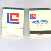 Image of Sun City General - Matchbooks from Lakes Club of Sun City, Arizona.  Club was a Sun City landmark which opened in 1973  and served as a private dining facility and social club.  In 2003 the building was purchased by Roskamp/Sun Health Management Services and as of 2011 housed a nursing school.