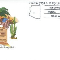 Image of Sun City West Stamps, Envelopes & Programs - Sun City West Inaugural Day Station envelope and is postmarked February 27,1995.
