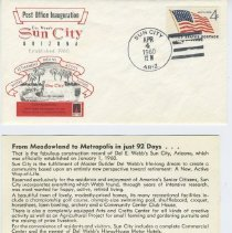 Image of Sun City Stamps, Envelopes & Programs - Sun City Post Office Inauguration envelope and flyer.  The flyer was contained inside the envelope.  The envelope is postmarked  April 4, 1960, the date of the Inaugurations Ceremony.