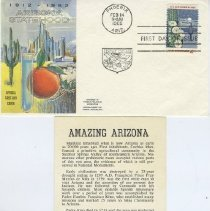 Image of Sun City Stamps, Envelopes & Programs - An Arizona envelope and flyer contained in the envelope for its 50th Statehood/Birthday, postmarked February 14, 1962.