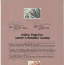 Image of Sun City Stamps, Envelopes & Programs - Aging Together Commemorative Stamp handbill that is postmarked May 21, 1982, the issue date.