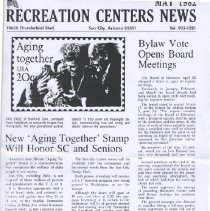 Image of Sun City Stamps, Envelopes & Programs - Sun City Recreation newsletter article about the Aging Together Stamp that honors Sun Citians and Seniors.  Newsletter is dated May 1982.