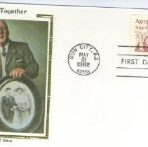 "Image of Sun City Stamps, Envelopes & Programs - Aging Together envelope with picture on left side saying ""First Day of Issue"" and ""Colorado Silk Cachet.""  Envelope has an Aging Together stamp and is postmarked the first day of issue, May 21, 1982."