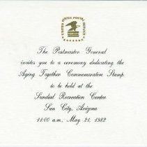 Image of Sun City Stamps, Envelopes & Programs - The US Postmaster General invitation to the dedication ceremony of the Aging Together Commemorative Stamp.