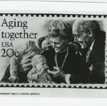 Image of Sun City Stamps, Envelopes & Programs - Enlarged black and white replica of the Aging Together stamp.
